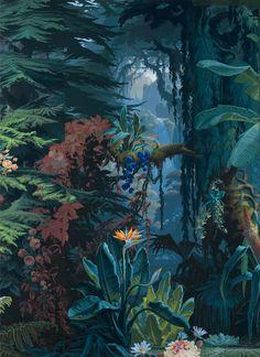 « L'Eden », papier peint panoramique, Joseph Fuchs, Manufacture Desfossé, 1861 - Papier continu à pâte mécanique, fond bleu brossé à la main, impression polychrome à la planche de bois - © Les Arts Décoratifs / photo : Jean Tholance