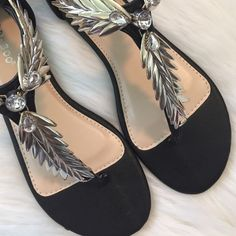 """▪️Bling Bling Flats▪️"" Brand new, Fabulous black & silver sandals. Size 7 1/2 NO TRADES  Shoes Sandals"
