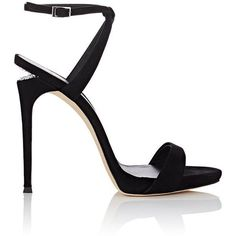 Giuseppe Zanotti Women's Coline Suede Sandals (£730) ❤ liked on Polyvore featuring shoes, sandals, zanotti, black, platform sandals, black ankle strap sandals, black criss cross sandals, black stilettos and ankle strap high heel sandals