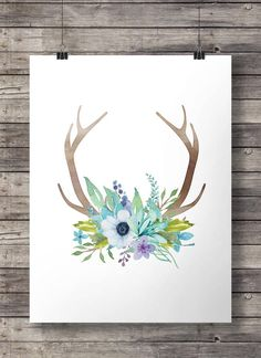 #Watercolor #Antlers and #flowers #print #wallart #artprint #Printable by #SouthPacific on #Etsy $5 ww.etsy.com/nz/shop/SouthPacific