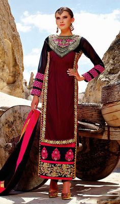 Red and Black Net Velvet Embroidered Churidar Suit Price: Usa Dollar $141, British UK Pound £83, Euro104, Canada CA$153 , Indian Rs7614.