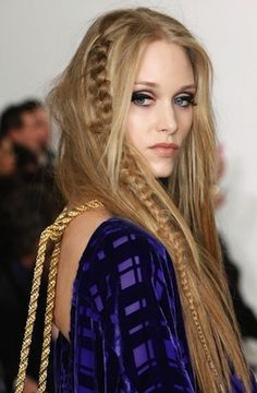 Long random braids with crimped and straight hair