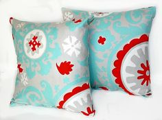 2 DECORATIVE PILLOW Covers - THROW Pillows - 20 x 20 inches - Gray Blue and Red Turquoise Aqua Suzani Harmony