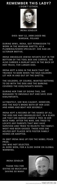 The Amazing Irena Sendler -- she is perhaps a little known name, but she saved the lives of approx. 2500 Jewish children during the Nazi Holocaust. (Faith In Humanity Restored) Irena Sendler, The Words, Just Dream, Thats The Way, Women In History, Found Out, Good People, Amazing People, Inspiring People