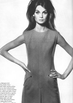 Jean Shrimpton (wearing her own designs), photographed by David Bailey for US Vogue Oct. 15, 1965.