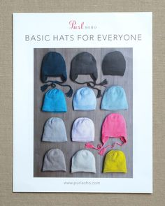 Basic Hats For Everyone | Purl Soho Knit Beanie Pattern, Headband Pattern, Free Printable Sewing Patterns, Free Sewing, Ear Warmer Headband, Purl Soho, Yarn Thread, Baby Knitting Patterns, Hat Patterns