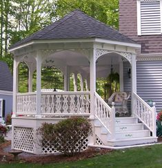 Porch Photo 93 - This porch is a visual treat to all lucky enough to visit. Porch Posts on either side Porch Gazebo, Pergola, Backyard Gazebo, Garden Gazebo, Garden Paths, Victorian Porch, Victorian Style Homes, Vintage Porch, Portable Gazebo