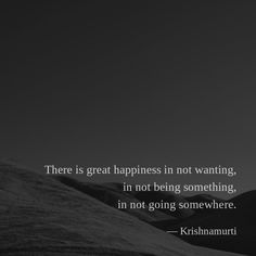 There is great happiness in not wanting, in not being something, in not going somewhere. — Krishnamurti