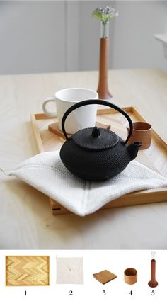Morning tea set with MONOSQUARE accessories:  1. Serving Tray - Yoshino Sugi Wood   2. Handwoven Cotton Pot Holder   3. Coaster with a Folded Corner - Cherry   4. Petite Pitcher - Cherry   5. Single Flower Vase - Cherry