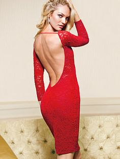 Ready for nights out: the Open-back Lace Dress from Victoria's Secret. Fitted and feminine with an open back. In a classic shape that artfully blends pretty details and a perfect fit, made ultra-feminine with a layer of lace.