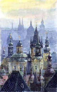 "Saatchi Art is pleased to offer the painting, ""Prague Towers,"" by Yuriy Shevchuk. Original Painting: Watercolor on Paper. Art Aquarelle, Art Watercolor, Watercolor Landscape, Illustration Manga, Nature Illustration, Wow Art, Art And Architecture, Amazing Art, Art Photography"
