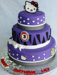 Hello Kitty Tiered Cake in Purple (We snuck in a single Shrek in there as well).