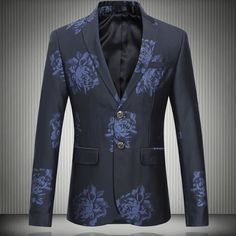 Rose Print Notch Lapel Wedding Party Men's Slim Fit Italy Style Fancy Blazers Leisure Stage New Fashion Jacket,High Quality party pail