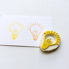 Love bulb stamp. Hand carved stamp. Rubber stamp. Mounted