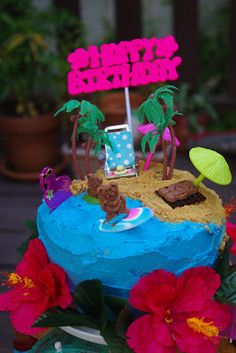 Within the Kitchen: A Day at the Beach cake - Hawaiian themed party #3