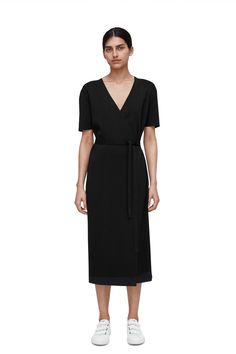 Knitted Wrap Dress - Black - Dresses - ARKET GB