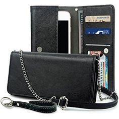 Smartphone Wallet, ENDLER Clutch Purse[Crossbody Strap/Wristlet] Bag PU Leather Pouch Smart Phone Case for iPhone 8/7 Plus/7, iPhone 6s/6s Plus, Samsung Galaxy S8 Edge/S7/Note,HTC,LG,Google-Black