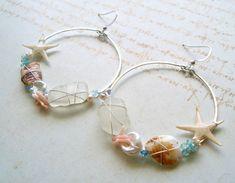 Large Beach Hoop Earrings Real Starfish Hoops by BellaAnelaJewelry, $62.00