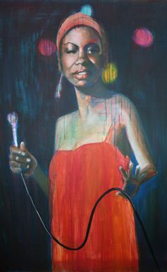 A painting in progress of famous jazz singer Nina Simone done by Jen Evans of Aurora, an artist who rents space at Water Street Studios. Evans is planning a series of 4-by-6 foot portraits of jazz artists.