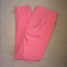 Rue 21 colored jeans Salmon colored jeans. Worn a couple times. No holes or ware. 98% cotton, 2% spandex. Rue 21 Jeans Straight Leg