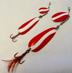 fishing lure red and white