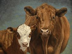 """Red, White and Moo  (Cow and calf painting by Denise Rich) by Denise Rich Oil ~ 48"""" x 60"""""""
