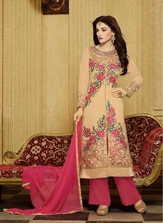 Imposing Hot Pink and Beige Lace Faux Georgette Pant Style Salwar Suit