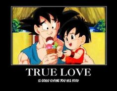 #Goku #Pan Dragon Ball GT My brother used to watch this show. I don't really remember it but I can imagine Goku as being someone that likes to eat. So this is really sweet :)