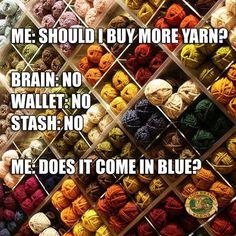 Humorous yet true yarn pix Knitting Quotes, Knitting Humor, Crochet Humor, Knitting Yarn, Crochet Flower Patterns, Crochet Flowers, Love Crochet, Crochet Yarn, Yarn Stash