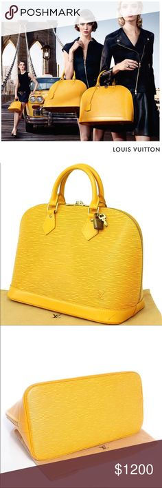 """WoW🌺Auth Louis Vuitton Epi Leather Yellow Satchel Show Stopper✅🌺This Pristine LV Epi Leather Alma PM Bag is made for those w/ impeccable taste. This timeless piece makes a great, practical everyday bag. It comes as a complete set with Dust bag, Key and shiny lock included.  12.25"""" L x 6.5"""" W x 9.5"""" H One flat pocket,Two-way zip closure, fully lined in Purple Alcantara LV lining with Gold tone hardware - clean inside and outside - mint condition- made in France - Code: SD0978 Louis Vuitton…"""