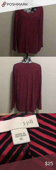 "J. Jill striped Long Sleeve Blouse In GOOD CONDITION NO STAINS NO HOLES! Measurements are Bust 22"" Length 28.5"" J. Jill Tops Blouses"