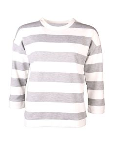 Grey and white striped sweatshirt | Clouds of Fashion