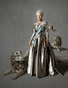Portraits of Queen Margrethe. The silver lions seen in Mikael Melbye's portraits of Queen Margrethe and Prince Christian of Denmark have two origins: 1. The lions are from Denmark's coat of arms: 2. The lions are the three silver lions from the Royal catafalque: The three lions were made in 1665 in Copenhagen by Ferdinand Küblich. They were used on special occasions (such as coronations) as guards around the throne.