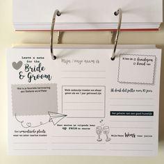Gastenboek met invulkaarten aangepast aan de trouwkaart