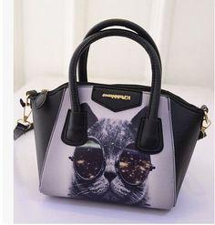 printing large eyes cat handbags