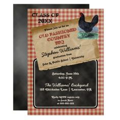 Rustic Chicken Cookout BBQ Graduation Party Card - graduation gifts giftideas idea party celebration