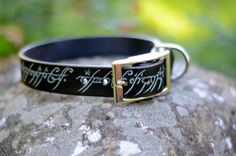 Glow in the Dark Leather Dog Collar with The One by SalukiFeathers