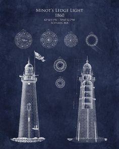 Minots Ledge Light Blueprint Digital Art