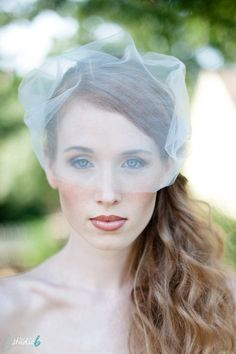 Bridal Birdcage Veil Double Layer Tulle Bandeau Style in Matte Ivory or White via Fine N Fleurie
