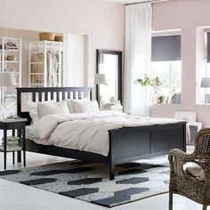 Create your own bedroom haven. Start with an IKEA HEMNES bed frame, stack on a few pillows, and top it off with an open clothes storage solution. Bedroom Furniture Inspiration, Bedding Inspiration, Black Bedroom Furniture, Ikea Bedroom, Bedroom Decor, Ikea Inspiration, Ikea Furniture, Furniture Stores, Furniture Design