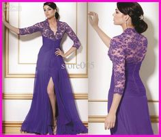 Discount Sexy Purple V-neck Long Sleeve Beaded Lace Mother Dresses Evening Gowns Chiffon Split front M502 Online with $118.18/Piece   DHgate