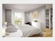 Mit einem zarten Grau im Schlafzimmer schaffen Sie eine schöne Alternative zu weißen Wänden und erhalten sich dabei die Möglichkeit, mit allen Farben problemlos Akzente setzen zu können. Gefunden im #Einfamilienhaus Clou 135 auf haus-xxl.de