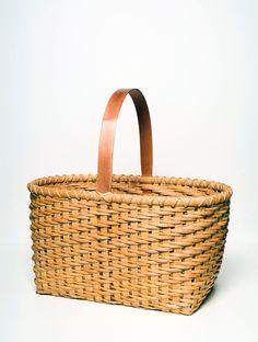 Twill Weave Market Basket Traditional Shaker Nina Webb Basket Cherry Handle Hand Woven. $200.00, via Etsy.