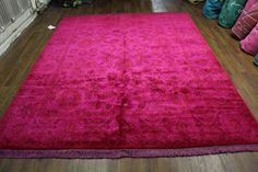 8x10 Silky soft wool pile rug - hot pink, espresso, caramel. One of a kind.