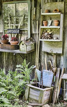 Gardener Photograph - Gardener Corner by Heather Applegate Garden Junk, Garden Pots, Garden Sheds, Garden Shed Interiors, Le Hangar, Potting Tables, Bloom Where You Are Planted, Potting Sheds, Organic Gardening Tips