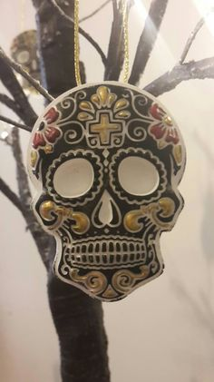Items similar to 4 halloween tree hanging sugar skull decorations / gothic Day of the dead christmas tree ornaments. on Etsy Halloween Tree Decorations, Halloween Trees, Hanging Ornaments, Christmas Tree Ornaments, Christmas Ideas, Sugar Skull Decor, Goth Home, Day Of The Dead, Gothic