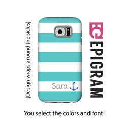 Aqua stripes personalized Samsung Galaxy S6 case by EpigramCases
