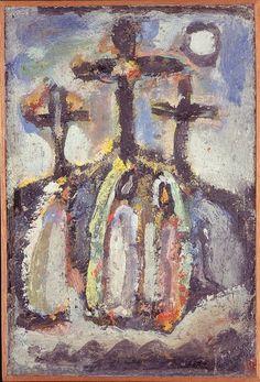 """Georges Rouault, """"Saintes femmes au Calvaire"""", vers 1940, huile, gouache sur papier marouflé sur panneau parqueté, 34 x 22,9 cm, Collection particulière © JL Losi © ADAGP Paris 2015"""