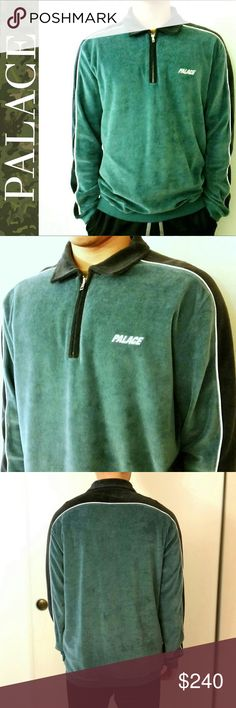 """PALACE VELOUR HALF ZIP -Stylish velour half zip  -out of stock item (highly searched for item) -*in my opinion it is a unisex piece* -79% cotton -24% polyester  🚫TRADES 📷ADDITIONAL PICS FOR SERIOUS BUYERS ONLY 💸ALL OFFERS TAKEN THROUGH """"OFFER BUTTON"""" palace Sweaters Zip Up"""