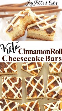 Cinnamon Roll Cheesecake is my new favorite breakfast, snack, & dessert. These keto cheesecake bars are rich & creamy with cinnamon & cream cheese icing. Cinnamon Roll Cheesecake, Low Carb Cheesecake, Cheesecake Bars, Low Carb Sweets, Low Carb Desserts, Keto Cookies, Baking Recipes, Dessert Recipes, Keto Recipes